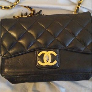 Vintage black leather shoulder bag